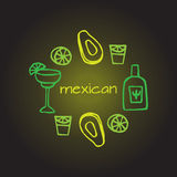 Mexican elements, cinco de mayo elements, mexico fiesta,avacado, mexican alcohol - tequila, margarita. Doodle set of Mexican elements, cinco de mayo elements vector illustration