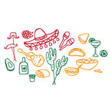 Mexican elements, cinco de mayo elements, mexico fiesta. Doodle set of Mexican elements, cinco de mayo elements, mexico fiesta royalty free illustration