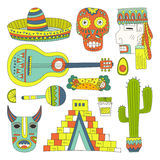 Mexican Elements. Hand drawn set of mexican symbols - guitar, sombrero, tequila, taco, skull, aztec mask, music instruments. Isolated national elements made in Stock Photos
