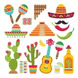 Mexican elements. Set of traditional Mexican symbols for various design projects. Vector cactus and pyramid, pepper and tequila illustration vector illustration