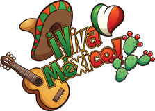 Mexican elements. Set up in a banner reading Viva Mexico!. Vector clip art illustration with simple gradients. Each element on a separate layer Stock Photography