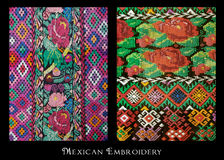 Mexican Embroidery. Two traditional mexican embroideries from Oaxaca, Mexico Stock Photo
