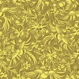 Vector Mexican embroidery gold seamless pattern. Mexican embroidery golden seamless pattern. Gold ethnic pattern. Birds and flowers golden background. Floral Stock Images