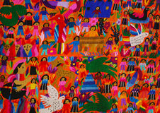 Mexican embroidery panel. Mexican embroidery with traditional motifs and native people Stock Image