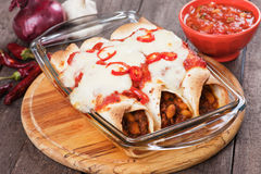 Mexican enchilada. Dish with tortillas in chili sauce Royalty Free Stock Photo