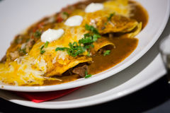 Mexican enchillada stuffed with juicy meat on plate. Traditional enchilada corn tortilla with chili pepper sauce in restaurant Royalty Free Stock Photography