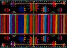 Mexican ethnic embroidery Tribal art ethnic pattern. Colorful Mexican Blanket Stripes Folk abstract geometric repeating background. Mexican ethnic embroidery stock illustration