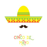 Mexican face. Abstract Mexican face with large mustache and sombrero hat cartoon flat style design element. Vector illustration Stock Photography
