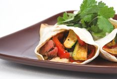Mexican fajitas. With rice royalty free stock photos