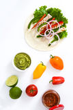 Mexican fajitas ingredients isolated on white background Stock Photography