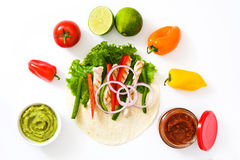 Mexican fajitas ingredients isolated on white background Stock Photos