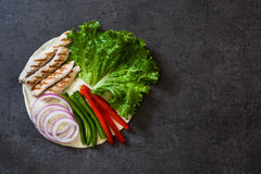Mexican fajitas ingredients on slate background Royalty Free Stock Photography