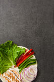 Mexican fajitas ingredients on slate background Royalty Free Stock Photo