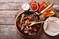 Mexican fajitas on a table. horizontal top view Royalty Free Stock Photography