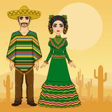 Mexican family in traditional clothes. Royalty Free Stock Image