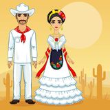 Mexican family in traditional clothes. Vector illustration: Mexican family in traditional clothes. Background desert Royalty Free Stock Images