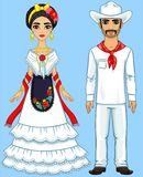 Mexican family in traditional clothes. vector illustration