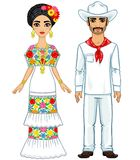 Mexican family in traditional clothes. Vector illustration: Mexican family in traditional clothes. Isolated on a white background Stock Photo