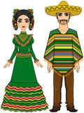 Mexican family in traditional festive clothes. Vector illustration: Mexican family in traditional festive clothes. Isolated on a white background Royalty Free Stock Images