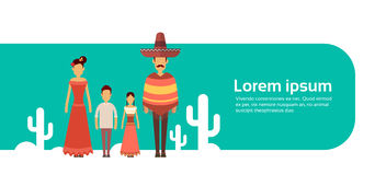 Mexican Family With Two Children Wear Traditional Clothes Cactus Banner With Copy Space. Flat Vector Illustration stock illustration