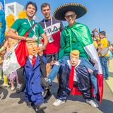 A Mexican fan in a national costume parodies presidents of the United States donald tramp. Russia, Samara, June 2018: a Mexican fan in a national costume stock photo