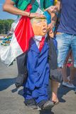 A Mexican fan in a national costume parodies presidents of the United States donald tramp. Russia, Samara, June 2018: a Mexican fan in a national costume royalty free stock image