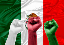 Mexican fans. Celebrating victory of his team stock photos