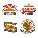 Mexican fast food cuisine vector icons set Royalty Free Stock Image