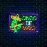 Mexican festival flyer design with guitar, cactus and sombrero hat. Glowing neon sinco de mayo holiday sign. Glowing neon sinco de mayo holiday sign in Royalty Free Stock Photo