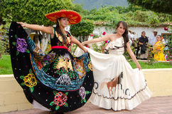 Mexican Festival Queens. Beautiful young Mexican women in traditional costumes in village of San Nicolas, Jalisco, Mexico Stock Images