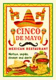 Mexican festive food card of Cinco de Mayo holiday. Mexican restaurant festive menu for Cinco de Mayo holiday celebration. Latin American festival traditional Royalty Free Stock Image
