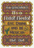 Mexican festive poster template. With ornate ethnic ornament background. Vector illustration. Traditional Mexican symbols, national elements - chili pepper Royalty Free Stock Image