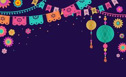 Mexican Fiesta banner and poster design with flags, flowers, decorations stock illustration