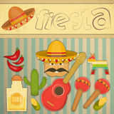 Mexican Fiesta. Card in Retro Style. Illustration Stock Image