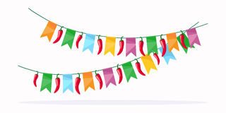 Mexican fiesta celebration detail. Colorful garland design element. Red chili peppers and colored flags. For greeting card or poster. Vector illustration stock illustration