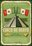 Mexican fiesta Cinco de Mayo vector sketch poster. Cinco de Mayo sketch retro poster for Mexican holiday greeting card or fiesta invitation. Vector Cinco de Mayo Stock Photos