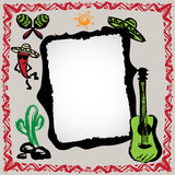 Mexican fiesta frame with sombrero's, cactus, chili's and guitar. Hand drawn vector royalty free illustration