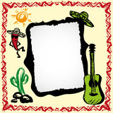 Mexican fiesta frame with sombrero's, cactus, chili's and guitar. Hand drawn vector stock illustration
