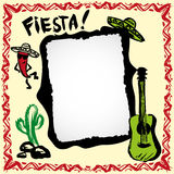 Mexican fiesta frame with sombrero's, cactus, chili's and guitar. Hand drawn vector vector illustration