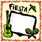 Mexican fiesta frame with sombrero's, maracas and guitar. Mexican fiesta frame with sombrero's,maracas and guitar, hand drawn vector stock illustration