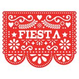 Mexican Fiesta Papel Picado  design in red - party garland paper cut out with flowers and geometric shapes. Traditional decoartions from Mexico, party decor Royalty Free Stock Photography