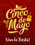Mexican fiesta banner for Cinco de Mayo holiday. Mexican fiesta party greeting banner of Cinco de Mayo holiday. Puebla battle anniversary celebration poster Stock Photo