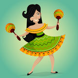 Mexican Fiesta Party Invitation with beautiful Mexican woman dancing with maracas. Royalty Free Stock Photography