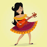 Mexican Fiesta Party Invitation with beautiful Mexican woman dancing and playing the guitar. Vector illustration poster. Design concept for Cinco de Mayo Stock Photo