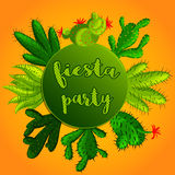 Mexican Fiesta Party Invitation with colorful succulent plants and cactuses. Vector illustration of botanical graphic set with cute florals royalty free illustration