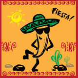 Mexican Fiesta Party Invitation with dancing pepper. Hand drawn vector illustration poster vector illustration