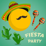 Mexican Fiesta Party Invitation with maracas, sombrero, cactuses and mustache. Hand drawn vector illustration poster. Stock Photo