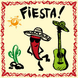 Mexican Fiesta Party Invitation with maracas, sombrero and guita. Mexican Fiesta Party Invitation with maracas, sombrero, dancing red pepper and guitar. Hand Stock Photos