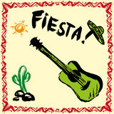 Mexican Fiesta Party Invitation with maracas, sombrero and guita. R. Hand drawn vector illustration poster vector illustration
