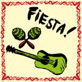 Mexican Fiesta Party Invitation with maracas, sombrero and guita. Mexican Fiesta Party Invitation with maracas and guitar. Hand drawn vector illustration poster royalty free illustration